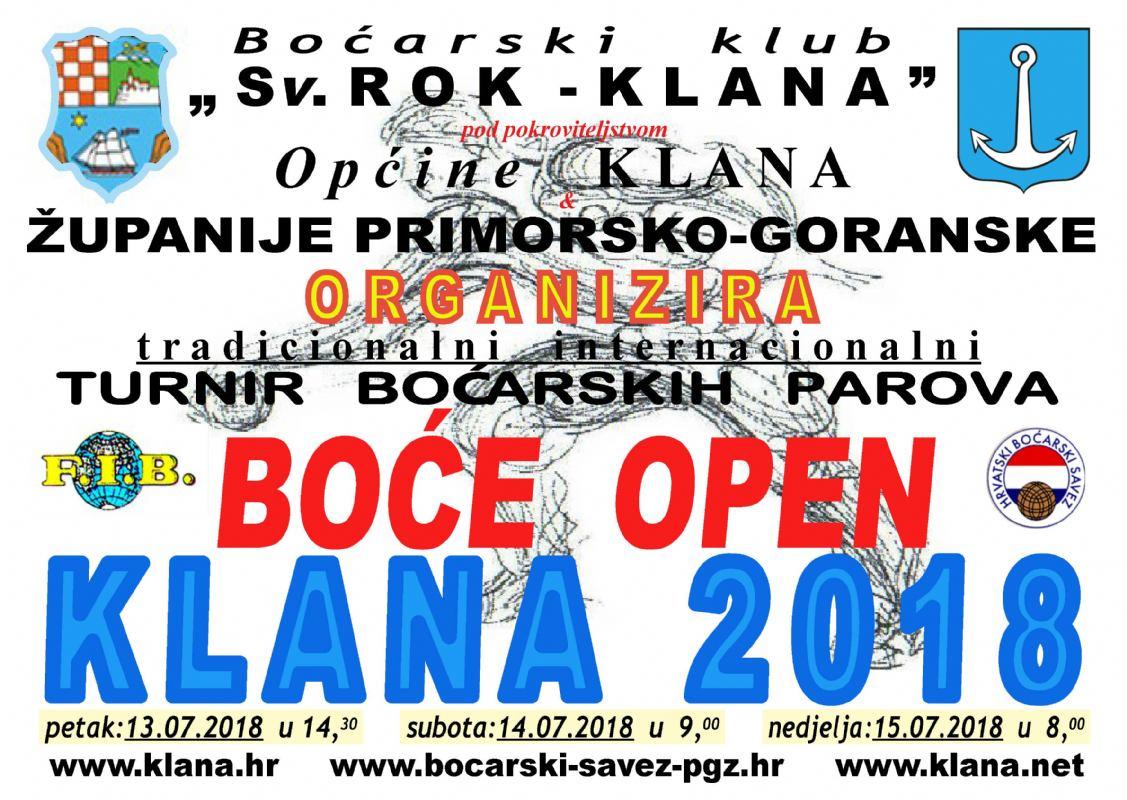 REZULTATI - BOĆE OPEN - KLANA 2018