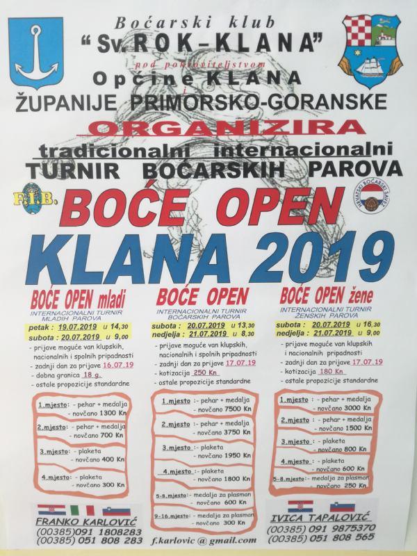 Započele prijave za BOĆE OPEN KLANA 2019